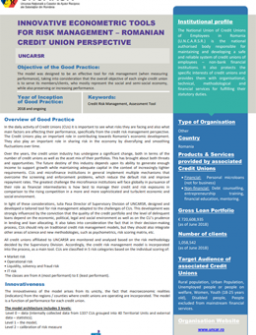 Good Practice | Innovative Econometric Tools for Risk Management – Romanian Credit Union Perspective - cover