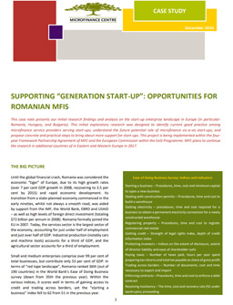 "Supporting ""generation start-up"": Opportunities for Romanian MFIs cover"