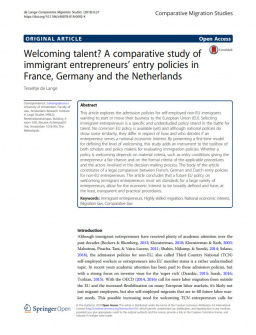 Welcoming talent? A comparative study of immigrant entrepreneurs' entry policies in France, Germany and the Netherlands